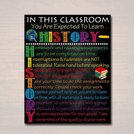 Photo of HISTORY Classroom Poster, History Classroom Decor, Classroom Rules Poster, High School History Teacher, History Professor, Social Studies