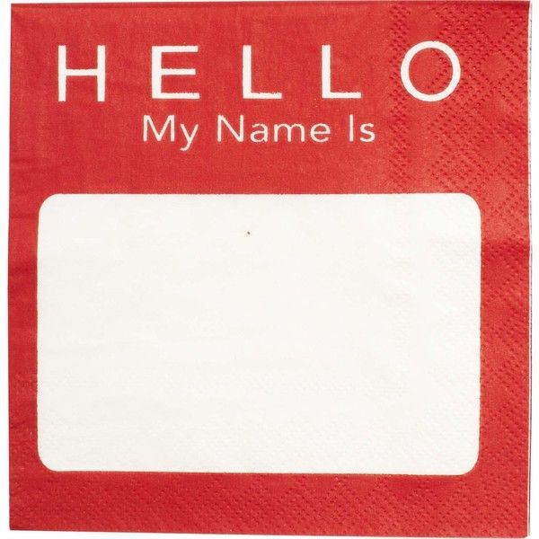 Hello My Name Is, Cocktail Napkins found on Polyvore