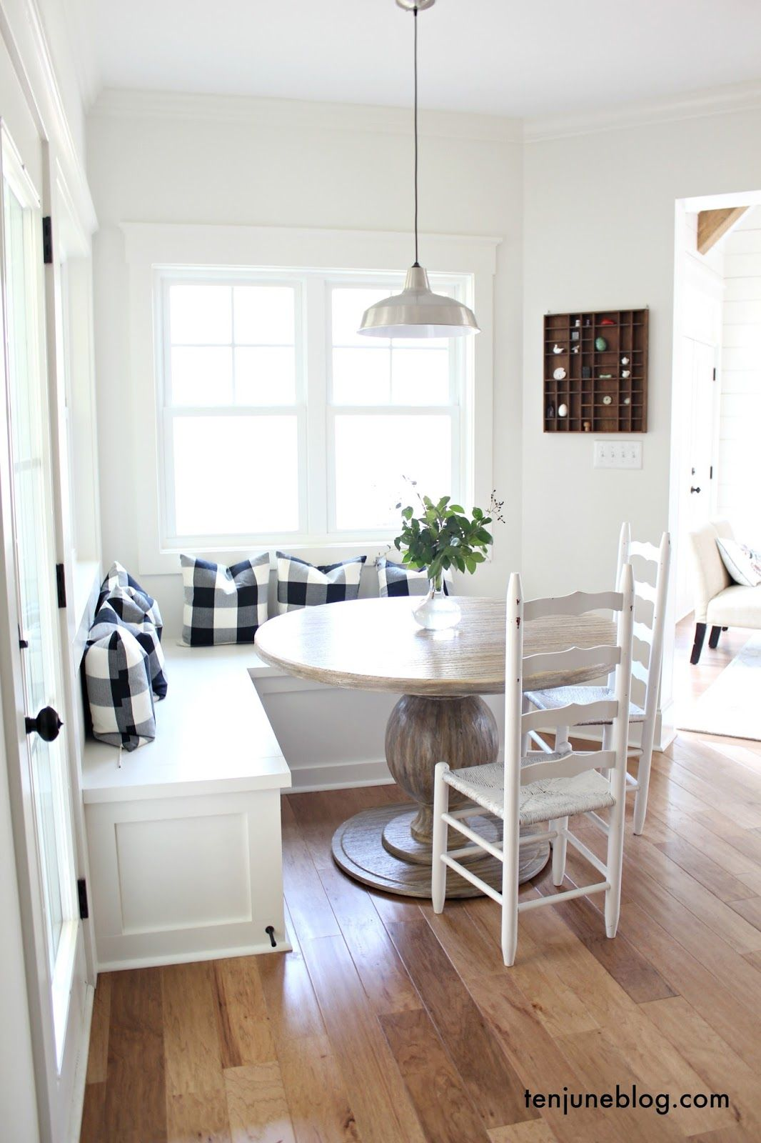 Ten June A Farmhouse Buffalo Check Built In Breakfast Nook White Painted Built In Benches Windows Light Ha Dining Nook Diy Nook Bench Breakfast Nook Table