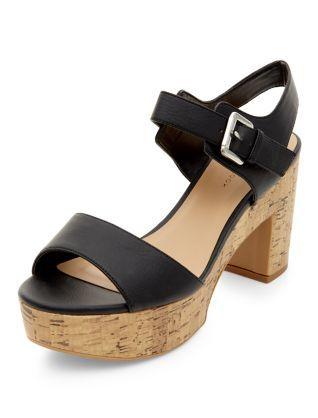 6fc7dc6ca4b Wide Fit Black Cork Block Heel Sandals