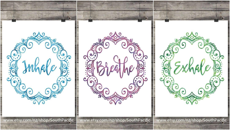 Yoga wall art inhale exhale breathe print printable art
