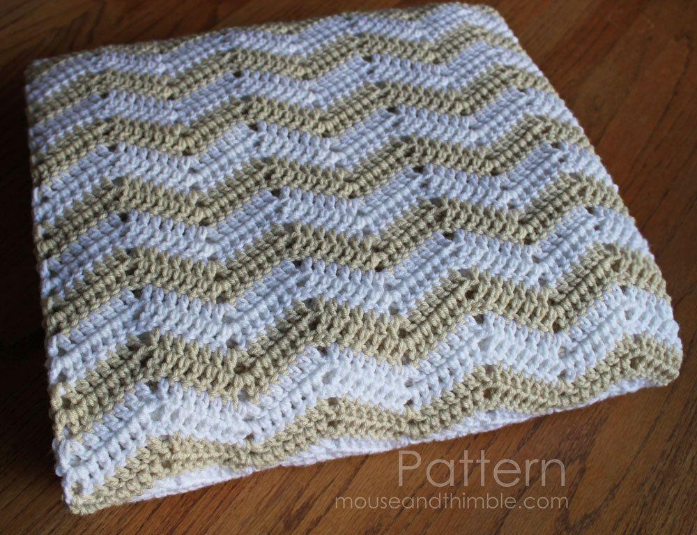 Crochet Pattern Bed Topper Blanket 4 Sizes Chevron