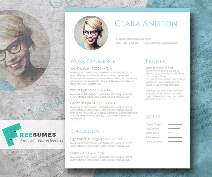 Simple Snapshot  The Freebie Photo Resume Template  Personal