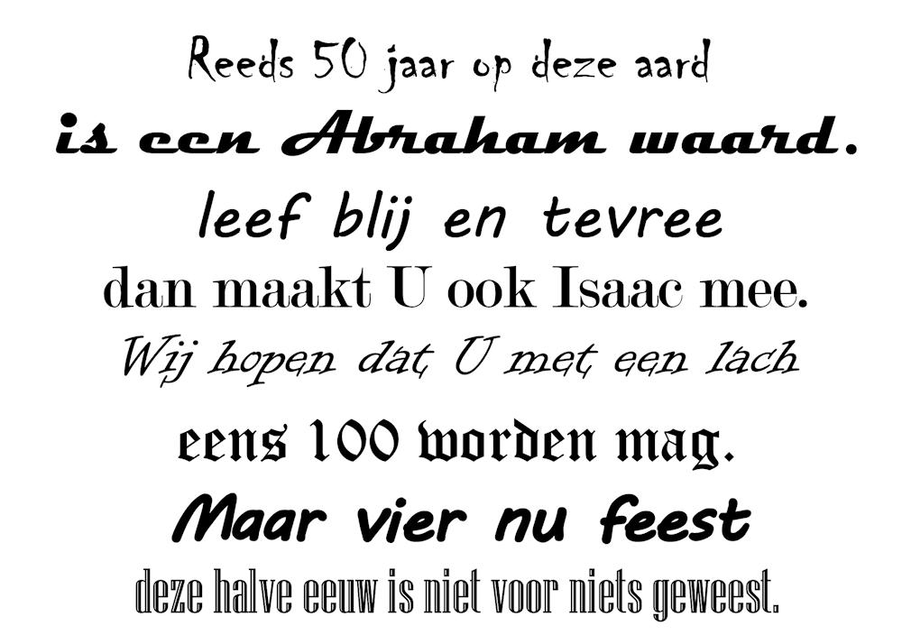 Een korte rijm gedicht voor op de abraham