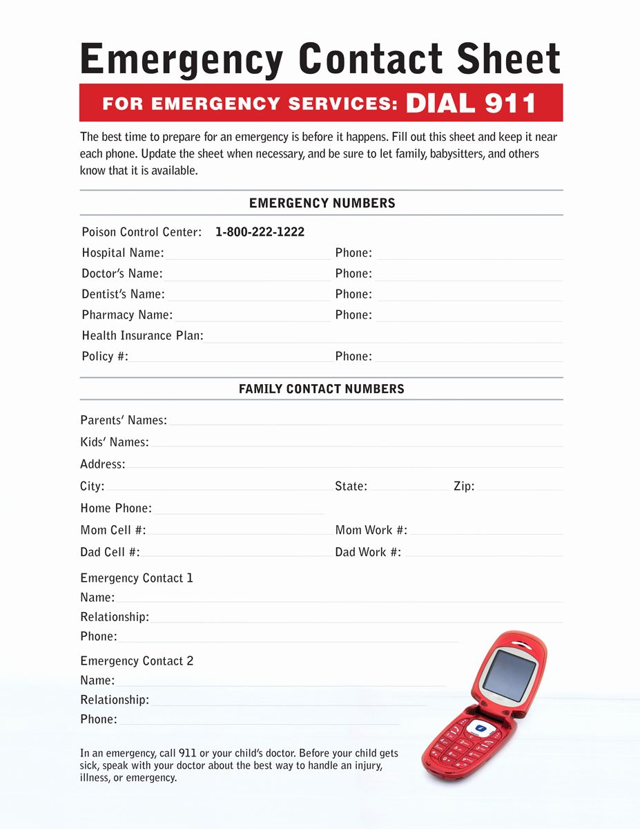 Emergency Contact form Template in 2020 (With images ...