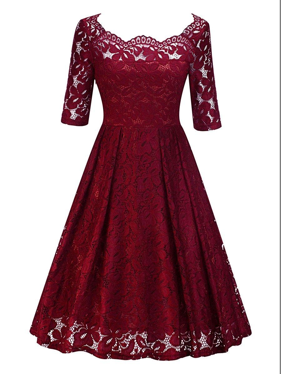 Plus Size Boat Neck Half Sleeve Women\'s #LaceDress   TBdress ...