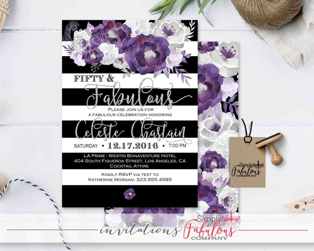50 and Fabulous! Elegant Black and White Striped, Watercolor Purple ...
