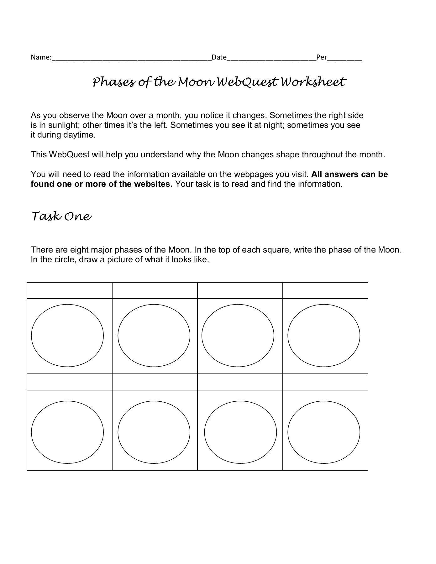 Phases Of The Moon Worksheet Phases Of The Moon Webquest