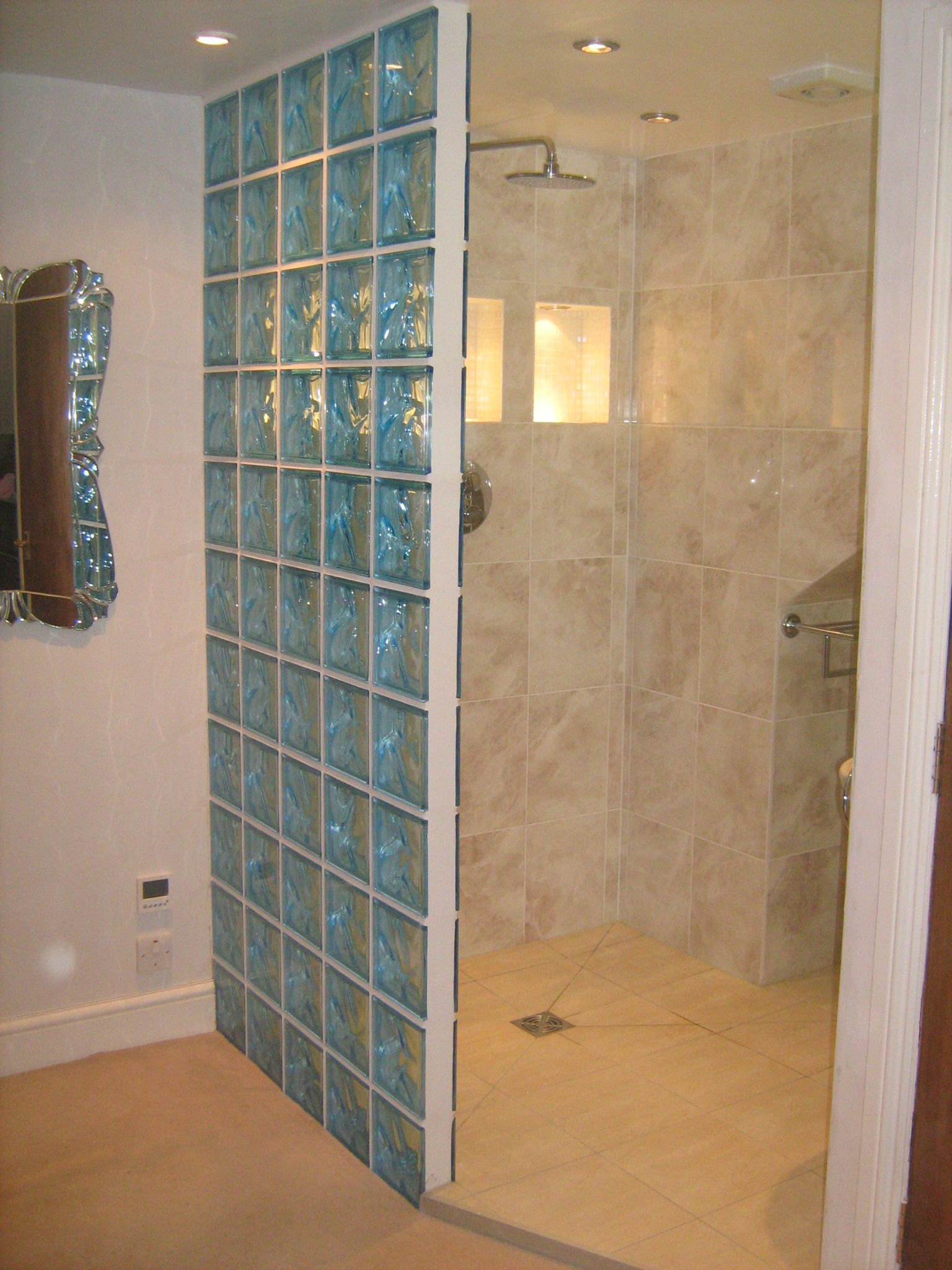 Glass block as shown here in this wet room is a nice alternative to ...