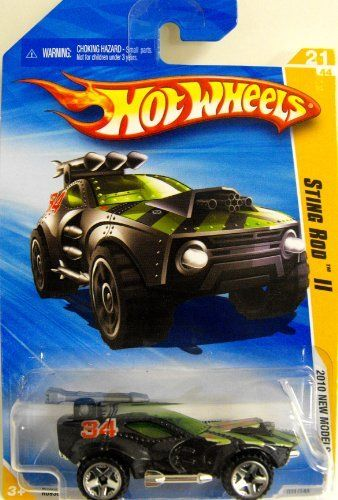 Hot Wheels Cars 2010 - Black Sting Rod II by Mattel. $2.99. Copyright 2009. 021 of 240. R0938. Born in 2010 by Hot Wheels designers in El Segundo, CA, USA. With a saw blade in the rear, armor plating, and missile launchers mounted on all sides, this beast is always battle ready!