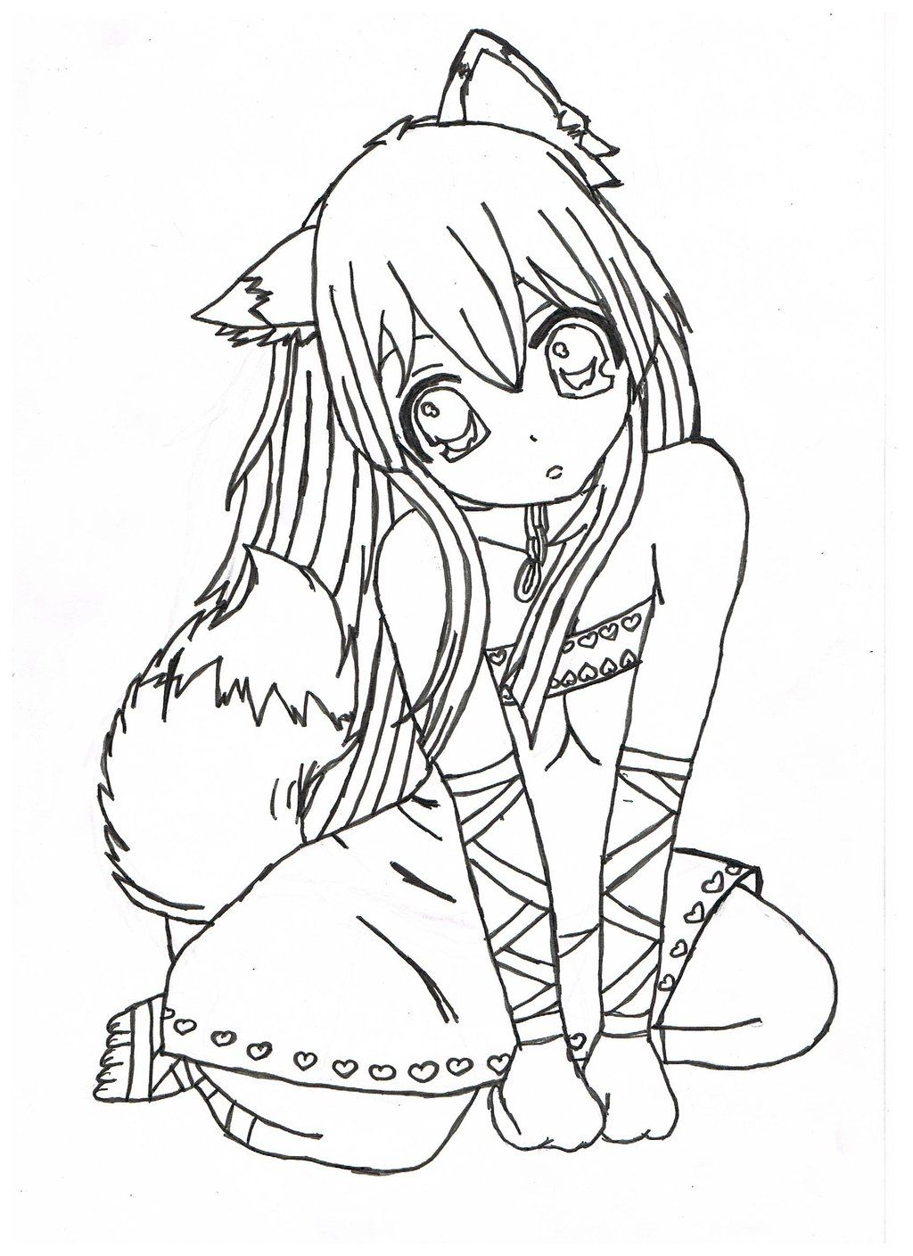 Nice Brilliant Anime Girl Coloring Pages Free Coloring