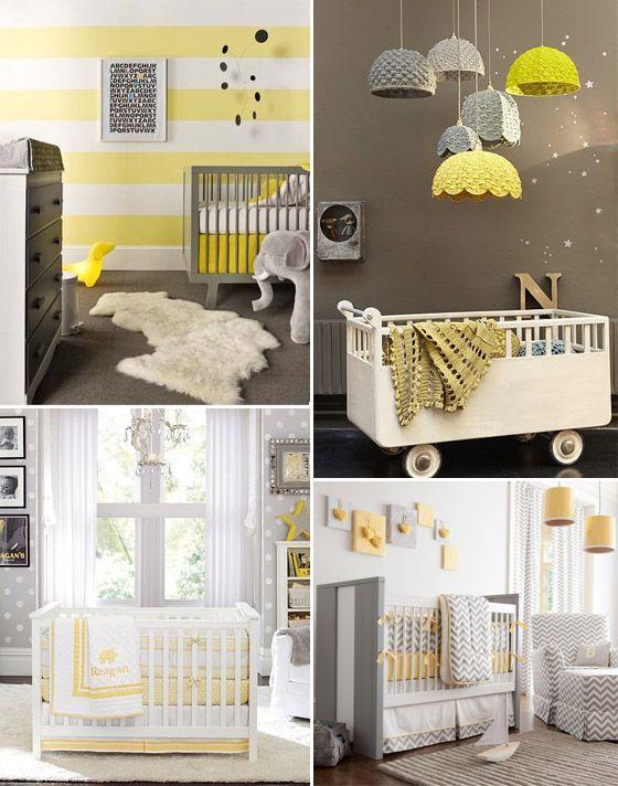 quarto_bebe_cinza_amarelo Chambre de bébé et idée Pinterest