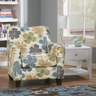 Signature Design By Ashley Kylee Spa Blue Floral Print Accent Chair    Overstock.com Shopping