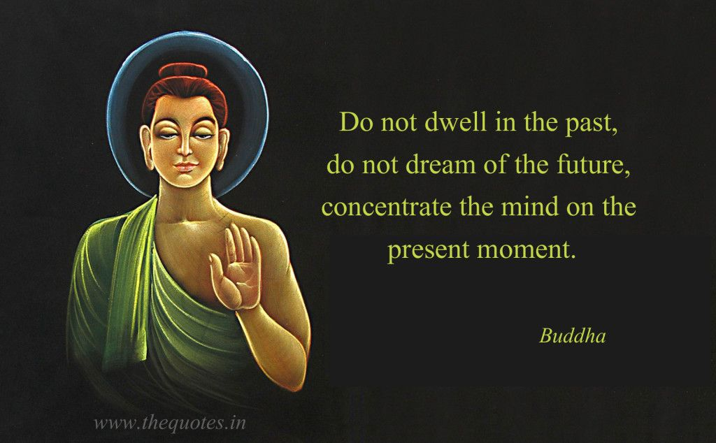 Do not dwell in the past, do not dream of the future, concentrate the mind on the present moment – Buddha