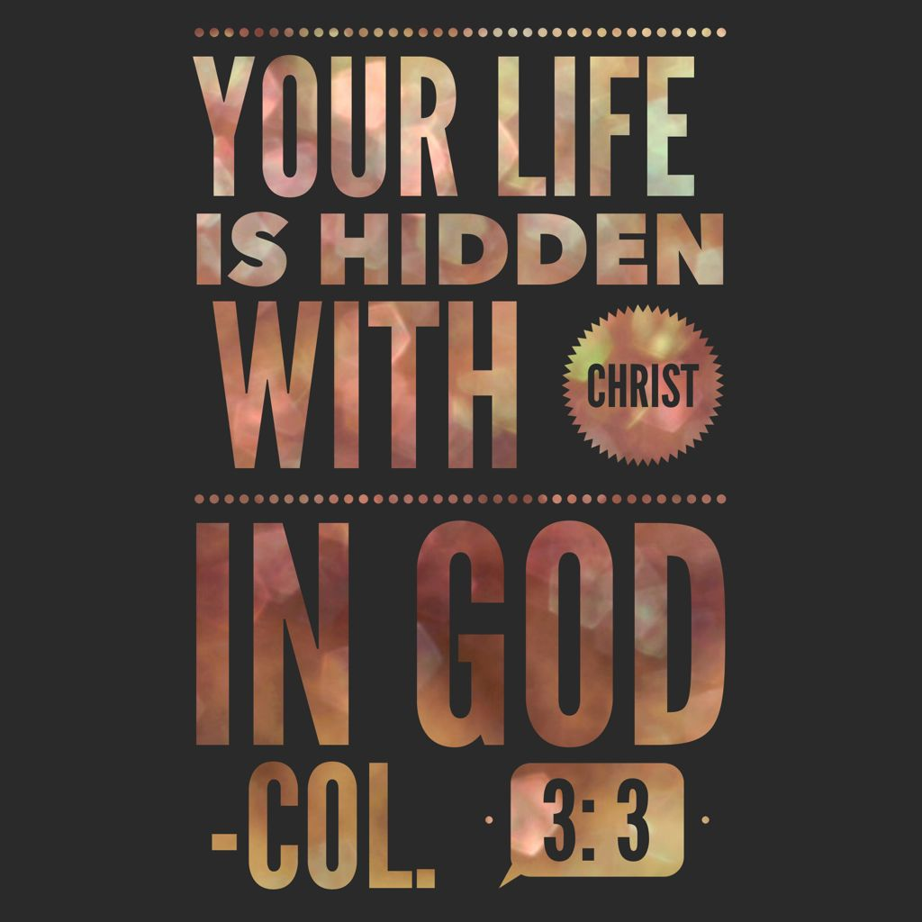 Colossians 3:3 For you died, and your life is hidden with ...