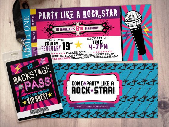 Pop star Rock Star concert ticket birthday party by LyonsPrints - invitations that look like concert tickets