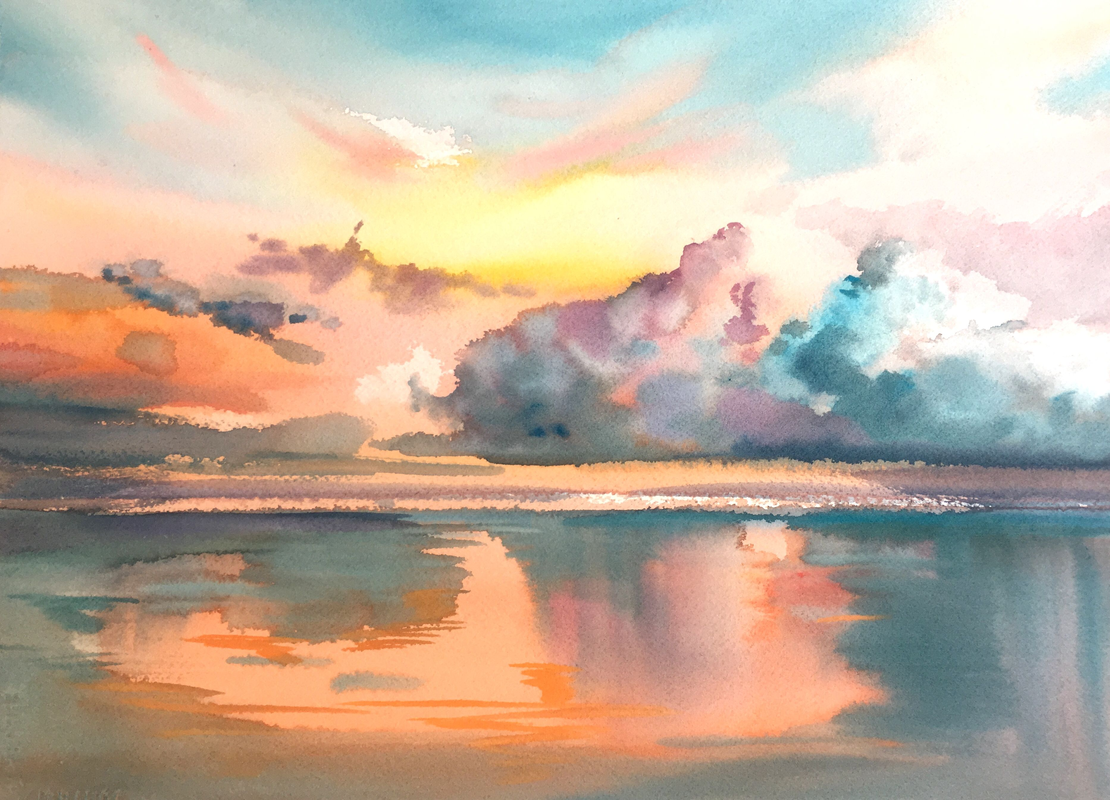 Cloud Formations Ii By Betsy Jacaruso Watercolor Available