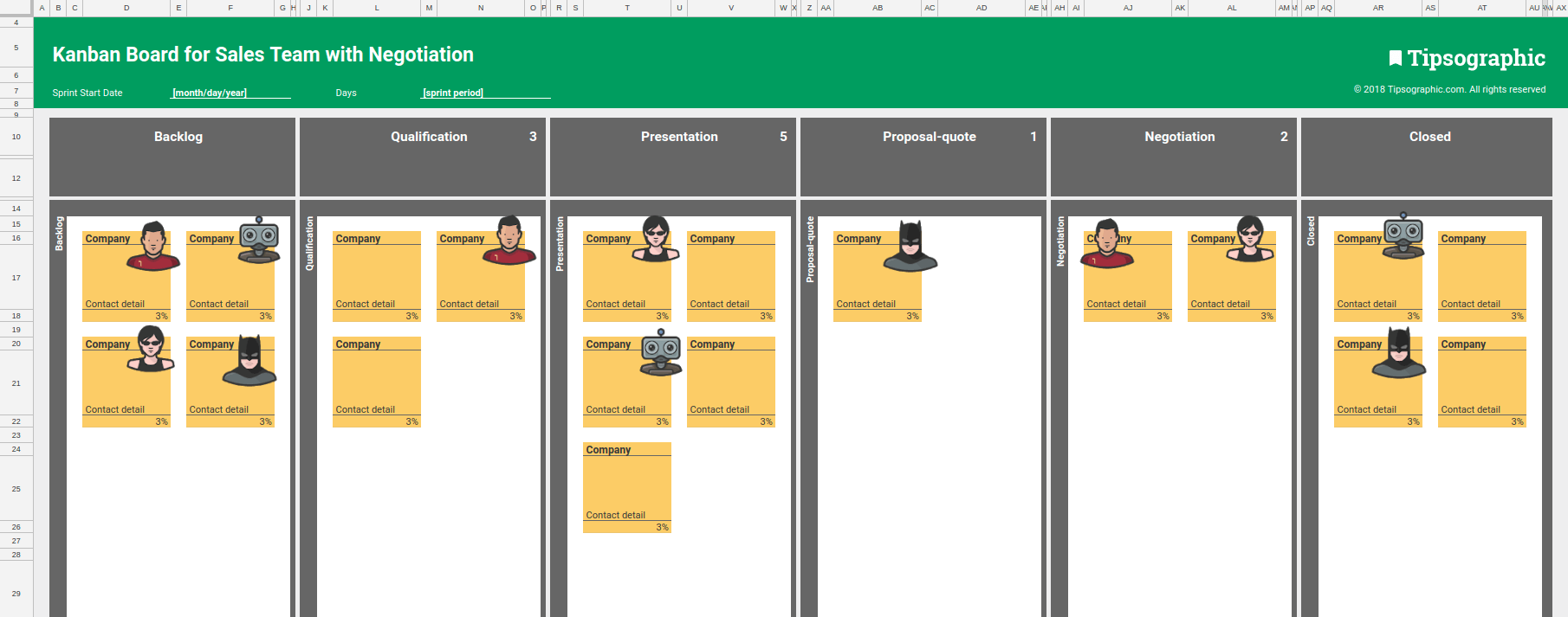 4 Kanban Boards For Sales Team Excel Free Download Excel And Google Sheets Tipsographic Kanban Agile Project Management Templates Project Management Tools