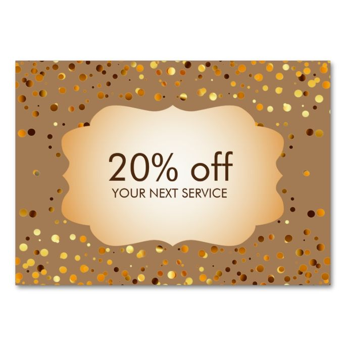Confetti Gold Coupon Card Voucher Discount Gift Large Business - Make Your Own Voucher