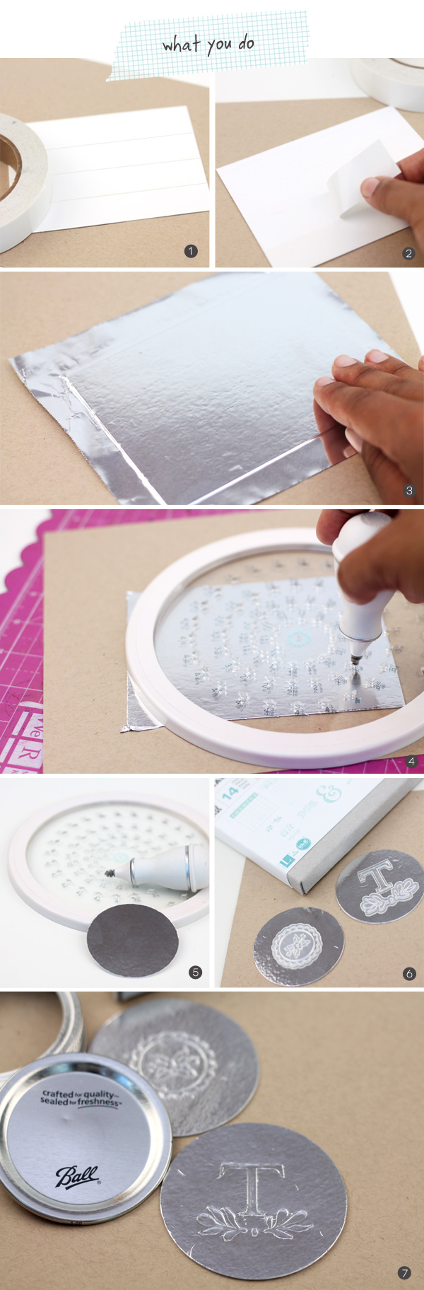 Use old jar lid rings to create these custom foil jar toppers