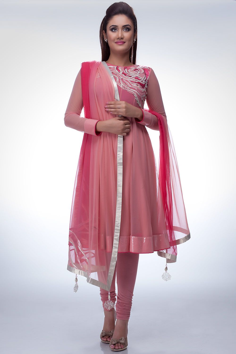 Light pink anarkali with silver embellishment on the neckline ...