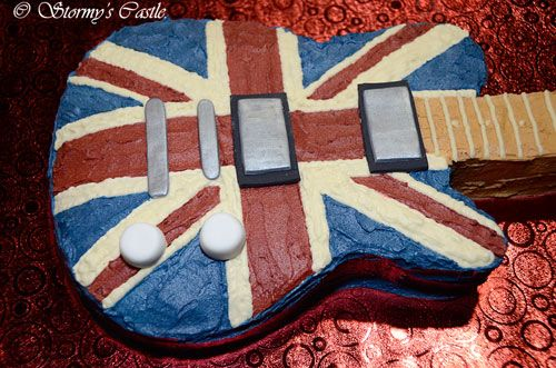 Union Jack guitar cake for my Son's 8th Birthday Party.
