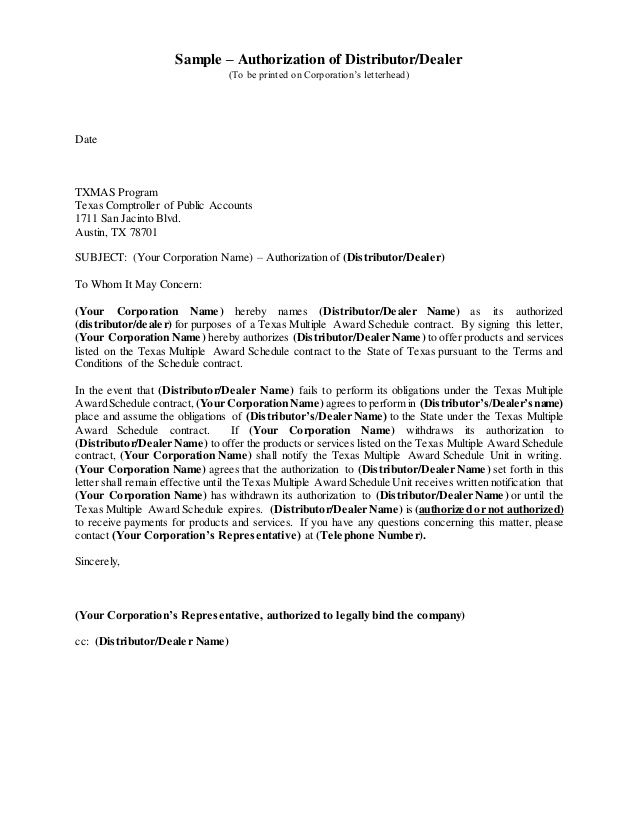 authorizationof distributor dealer new brand authorization letter - claims letter