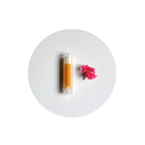 Tangerine Lip Balm beeswax moisturizing lip repair by hellosoap, $3.95