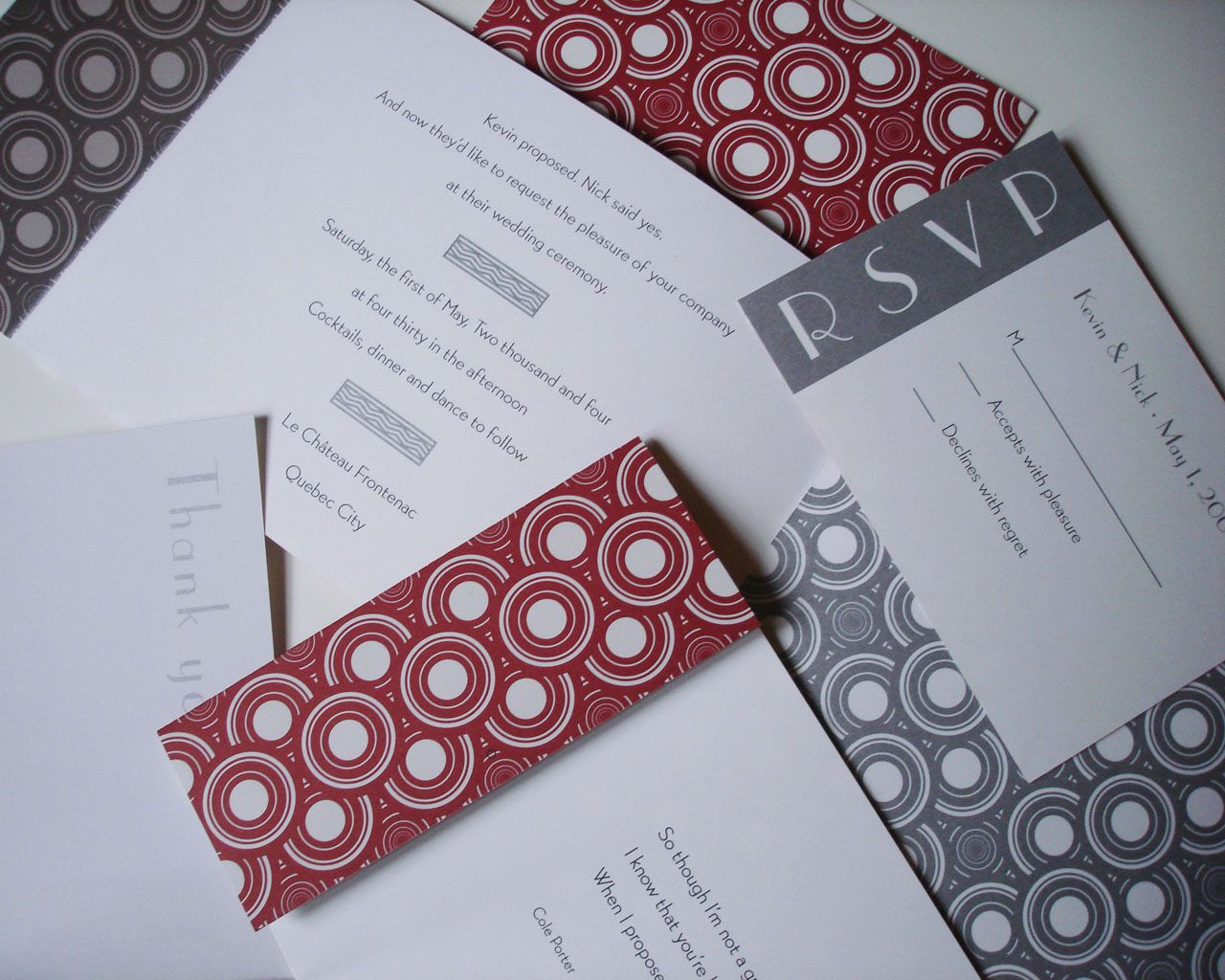 For an art deco themed wedding we created these striking for an art deco themed wedding we created these striking invitations printed in red and stopboris Image collections