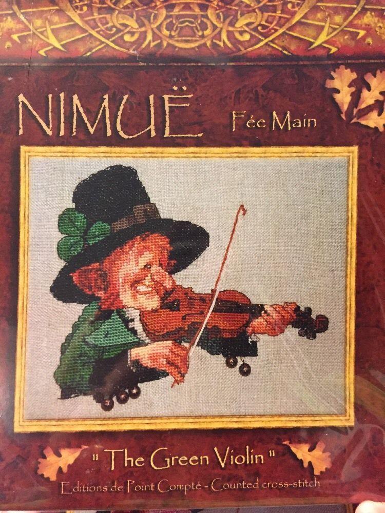 The Green Violin Leprechaun Irish Fiddle Nimue Fee Main Cross Stitch Pattern #nimuefeemain #crossstitchpatternforpattern