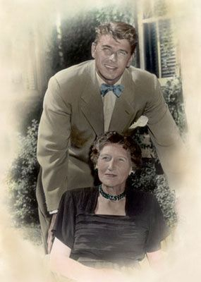 Ronald Reagan with his mother Nelle,  a driving force in his life and development.