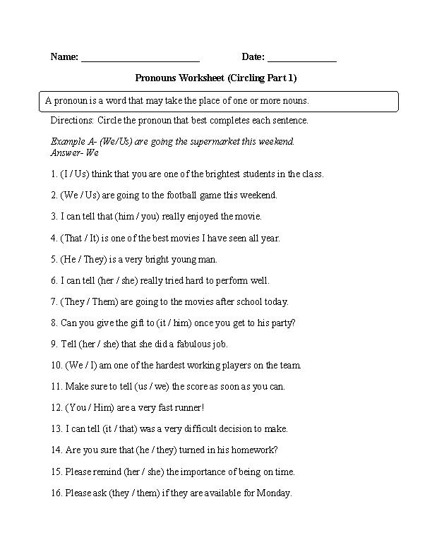 Pin On Pronouns Worksheets