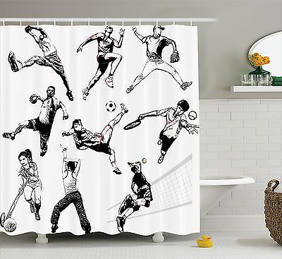 Sketch Shower Curtain Sports Playing Themed Bathroom Decor