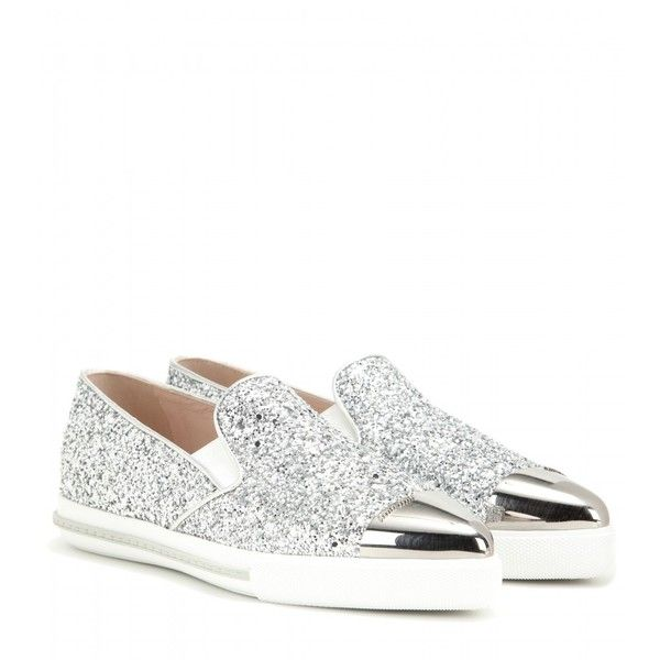 0b695dcccec0 Miu Miu Embellished Leather Slip-on Sneakers (7.377.940 IDR) ❤ liked on  Polyvore featuring shoes