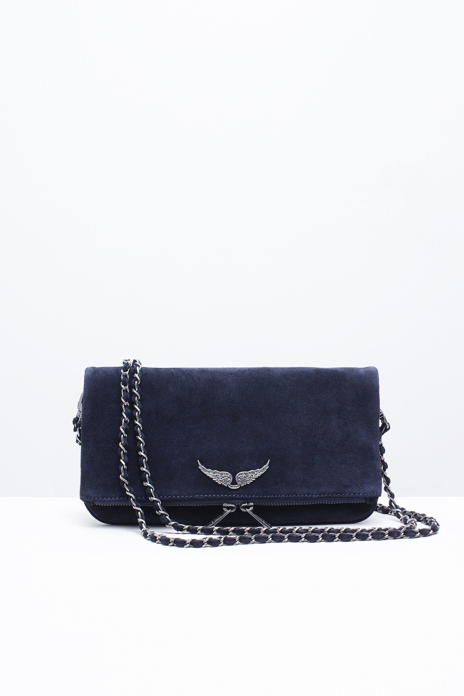 45a5623f516 Zadig   Voltaire rock suede navy women bag