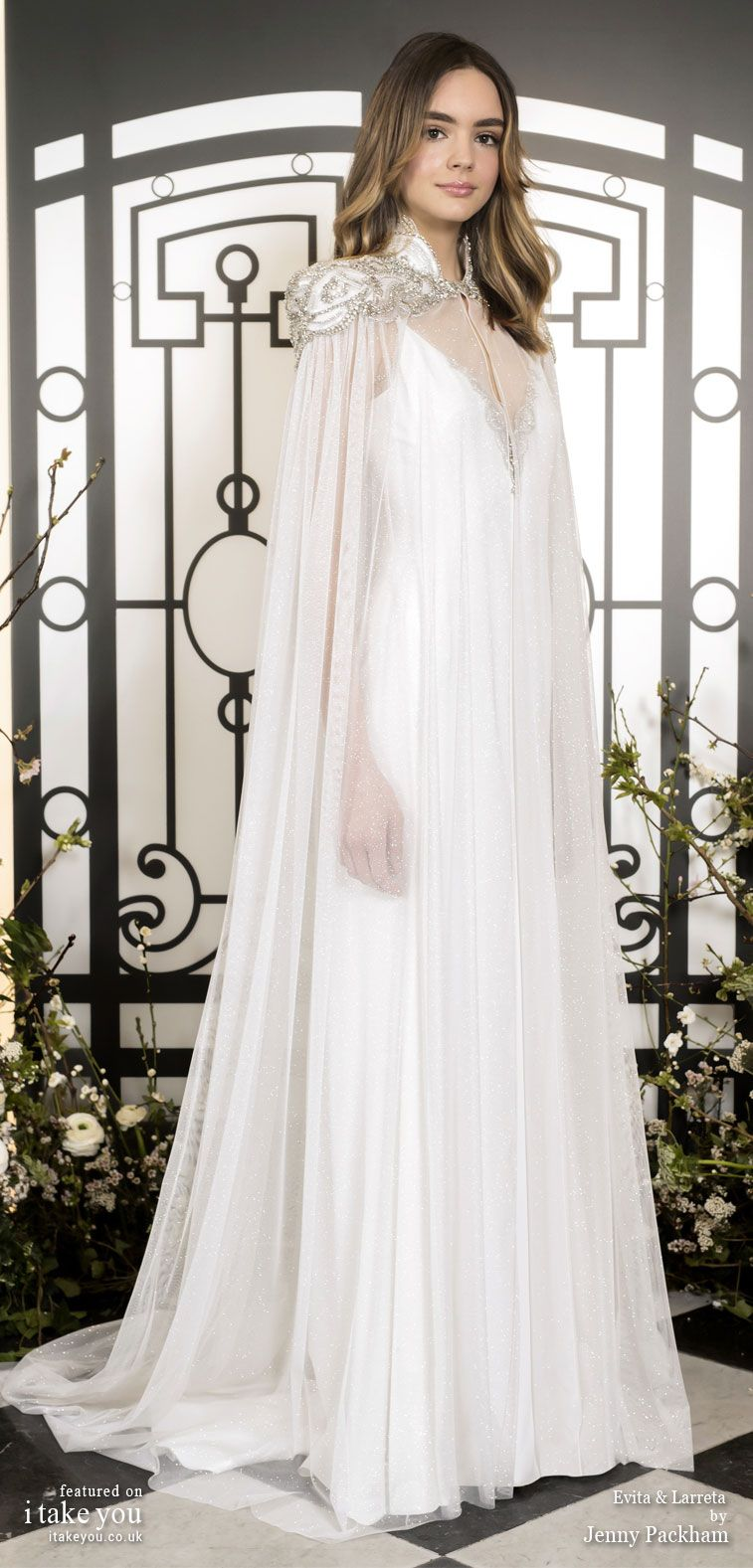 Jenny Packham 2020 Bridal Spring Collection Pure Elegance Timeless Sophistication Cape Wedding Dress Wedding Dresses Jenny Packham Wedding Dresses