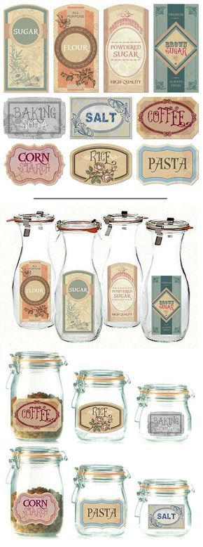 DIY Free Printable Labels & Projects - Diy labels, Printable labels, Labels printables free, Diy vintage decor, Vintage diy, Diy crafts vintage - Need home organizing help  Try these free printable labels and DIY label projects  Use them to organize your pantry, laundry room and more!
