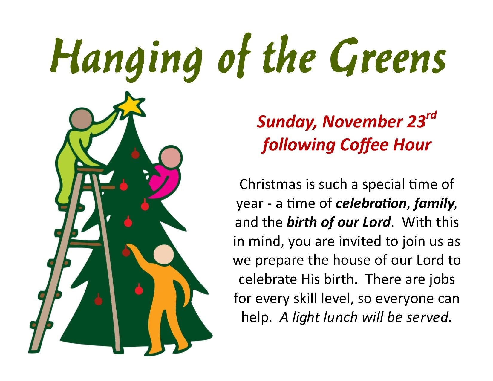 Hanging Of The Greens November 23rd Announcements Pinterest