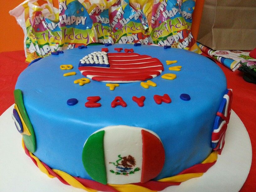 Flags Of The World Birthday Cake My Cakes Pinterest Birthday - World birthday cake