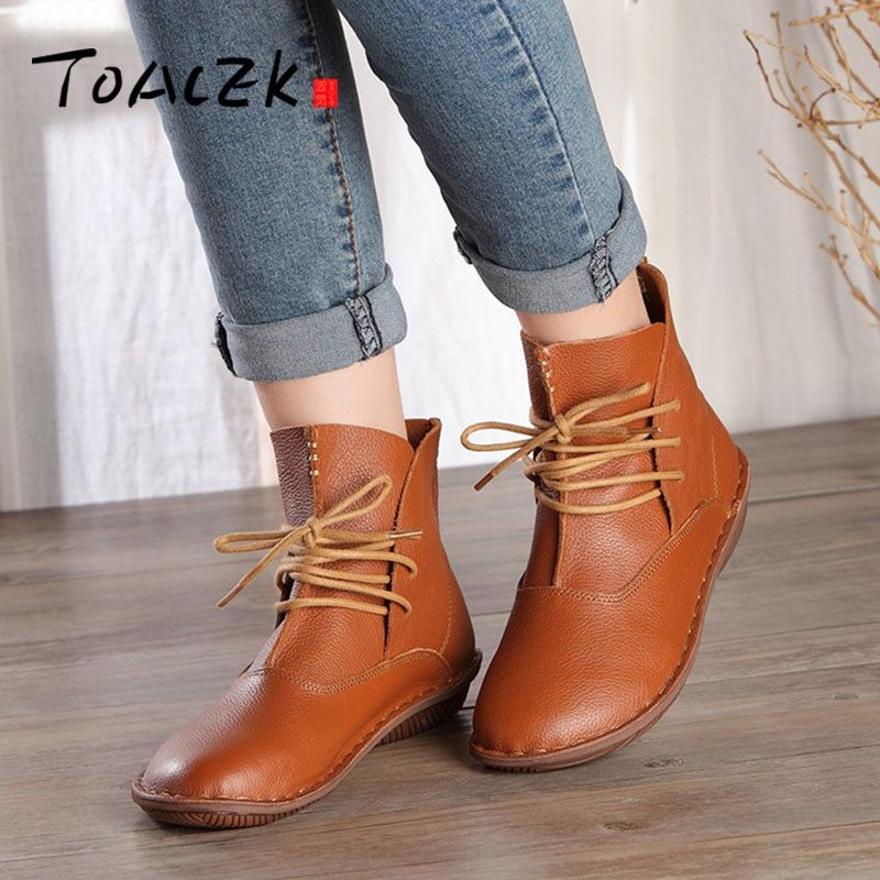 Handmade leather ankle boots flat bottom retro leather