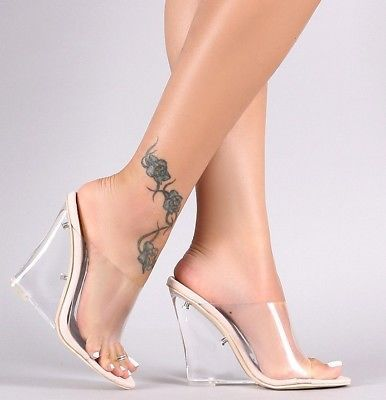 7f5958b2e6f Clear High Heel Wedge Slide Mules Transparent Nude Lucite Open Toe ...