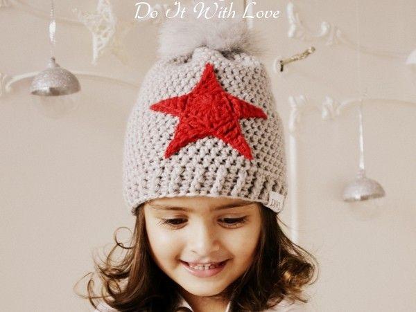 Winter Bommelmütze Stern Häkelanleitung   crochet hat   Pinterest ...
