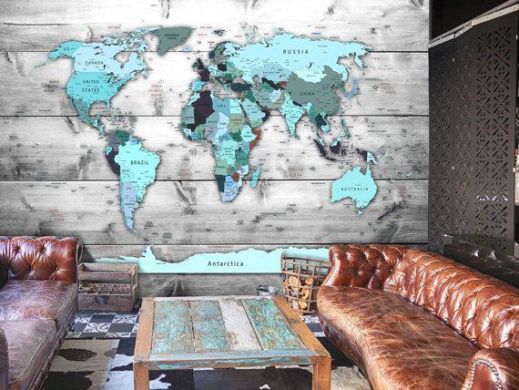 Slaapkamer Met Kunstmuur : Photo wallpaper wall murals non woven world map atlas modern design