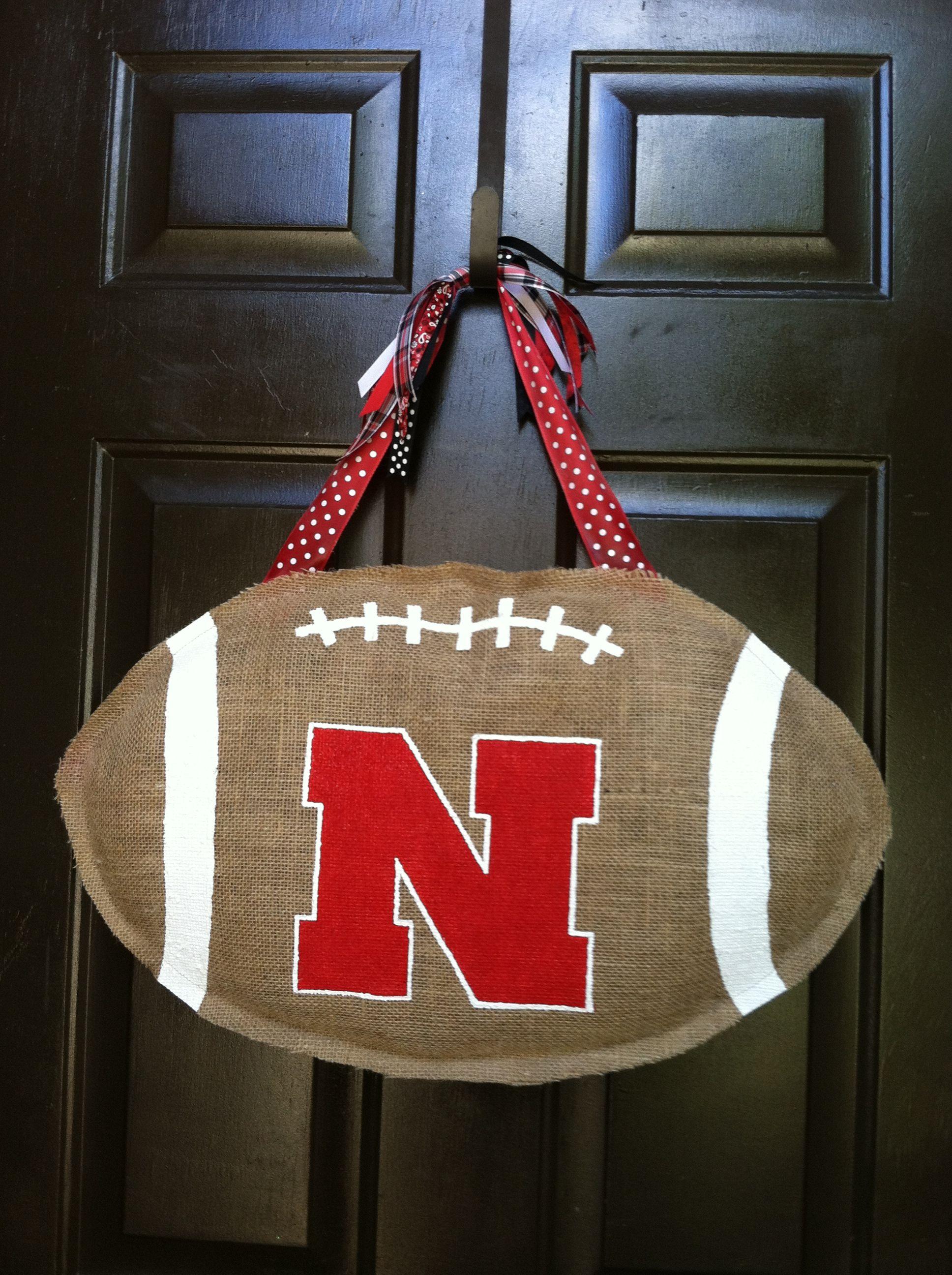Burlap Nebraska Cornhusker Door Hanger Go Big Red Burlap Team Decor Burlap Door Hangings