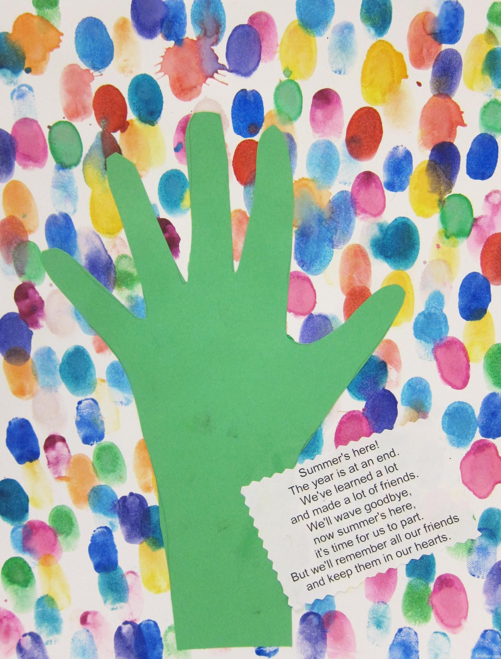 End Of Year Kindergarten Fingerprint Art