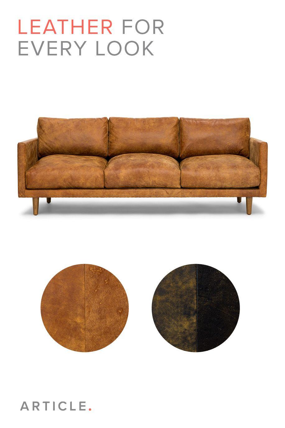 Tan Brown Leather Sofa   Upholstered   Article Nirvana Modern Furniture