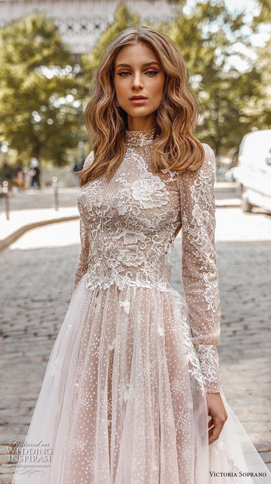 f00985979c0c Victoria Sopran 2019 Braut lange Ärmel Stehkragen stark verziert ...