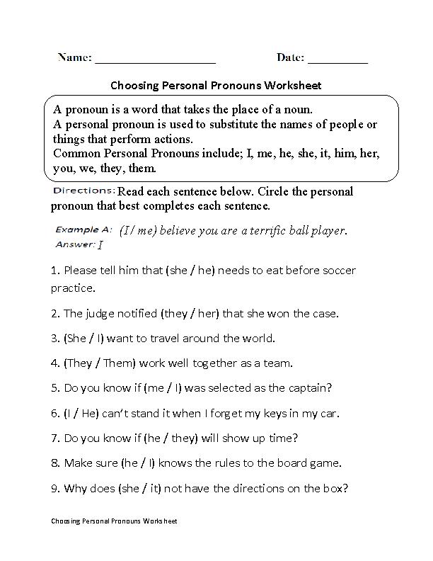Choosing Personal Pronouns Worksheet | Comprehension | Pinterest