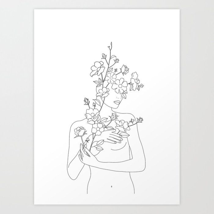 Photo of Minimal Line Art Woman with Wild Roses Art Print by nadja1
