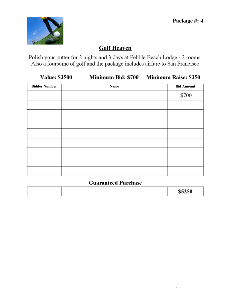 Sample Bid Sheet Out Of Greater Giving Eso Software Inside Auction Bid Cards Template Silent Auction Bid Sheets Auction Bid Free Place Card Template
